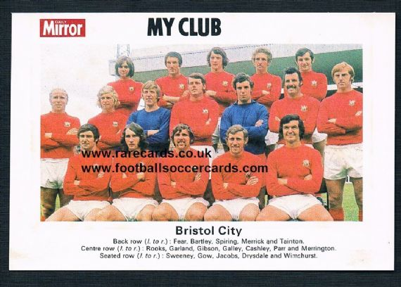 1970 My Club Daily Mirror postcard-size card Bristol City